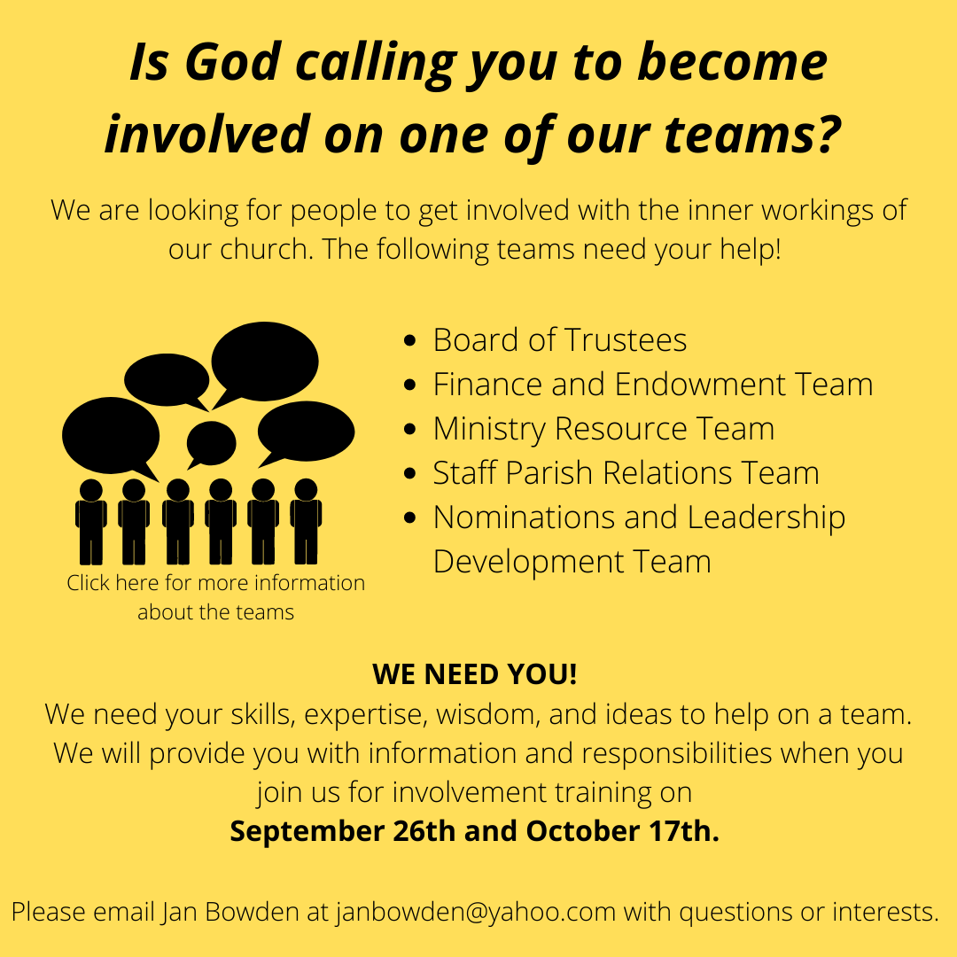 Is God calling you to become involved in one of our teams?
