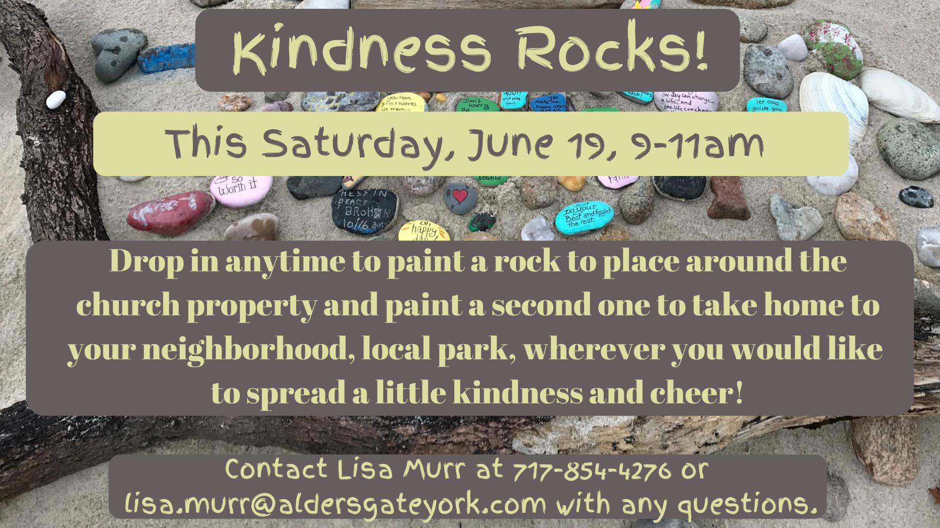 This Saturday, June 19th - Amazing Adventures Kindness Rocks! Event