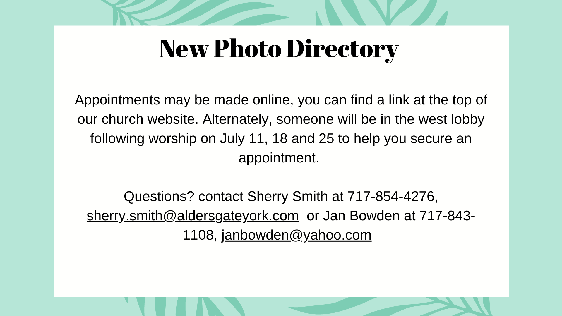 New Photo Directory Coming Soon!