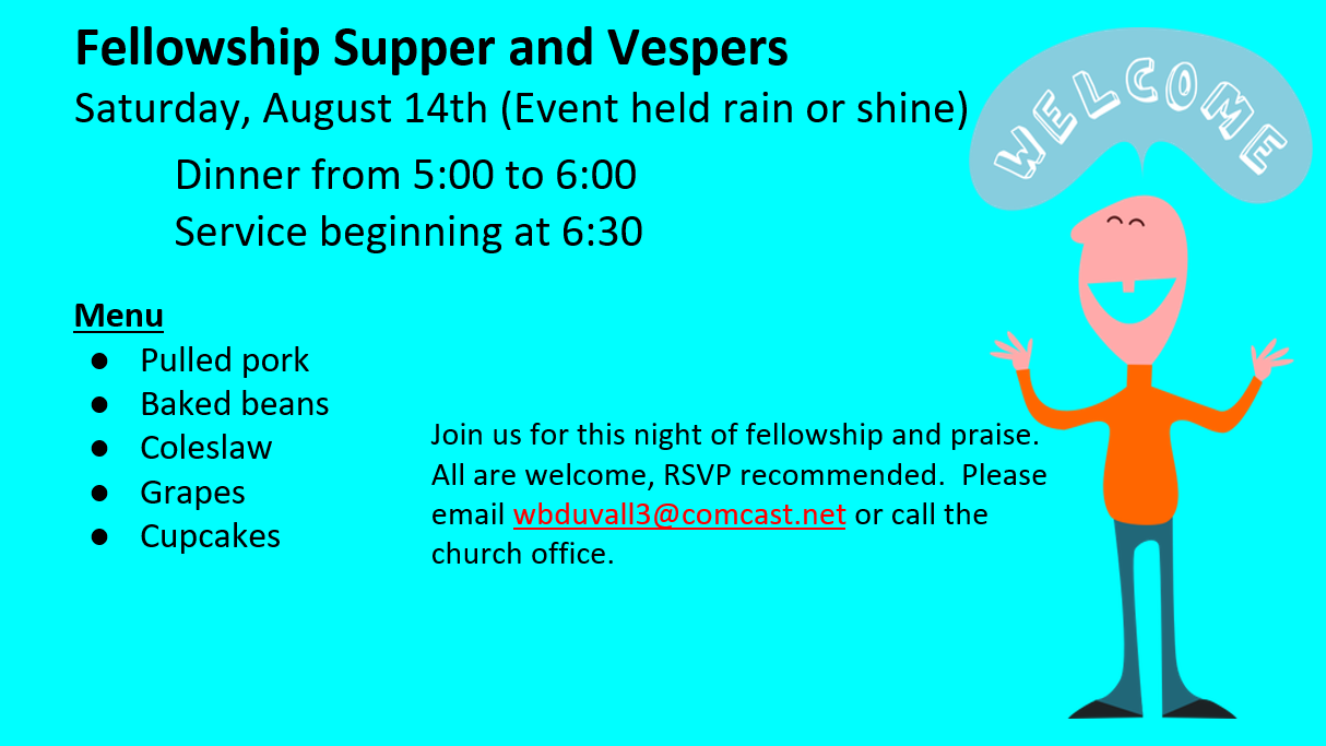 Dinner and Vespers Scheduled
