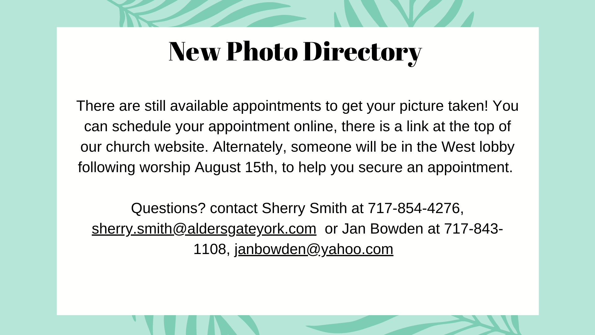 Appointments still available!