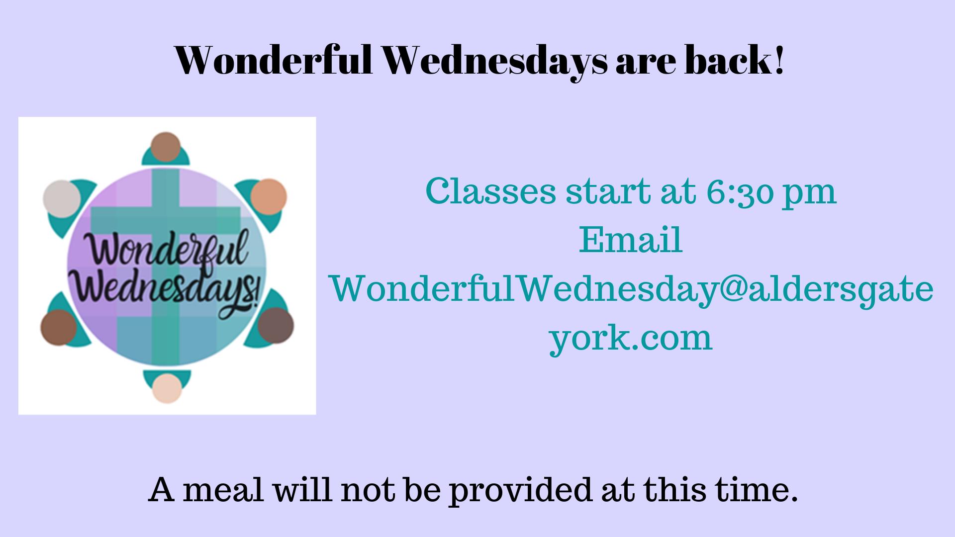 Wonderful Wednesdays are back!